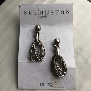 Sue Huston Sterling Silver Cluster Oval Earrings